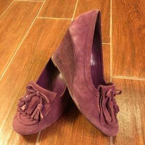 Beautiful Purple Suede Coach wedge heels, size 8.